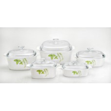 Corningware 10 pcs Chef Classic Covered Casserole Set  European Herbs