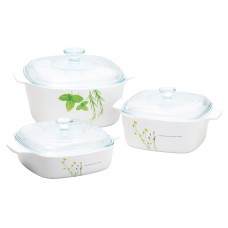 Corningware 6 pcs Covered Casserole Set European Herbs