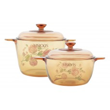 Visions 4 pcs Decorated Covered Versa Pot Set Country Rose